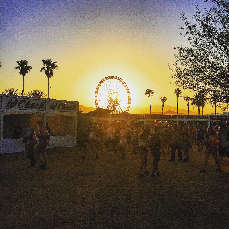 Coachella ferris wheel at sunset