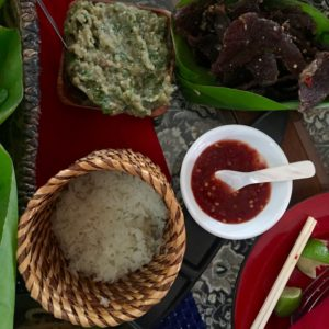 Sticky rice and eggplant dip Lao cuisine
