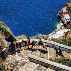 riding donkeys Santorini, Greece
