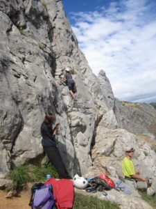 rock climbing before bull chase in Spain