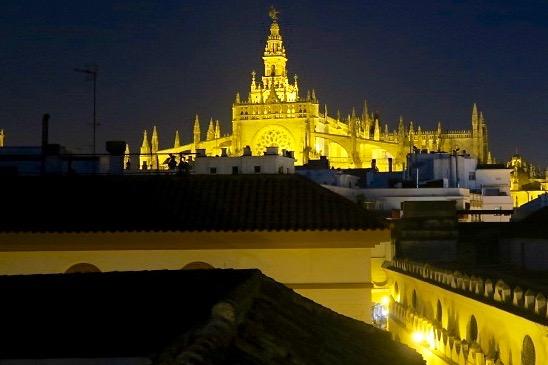 Cathedral of Sevilla from La Banda Rooftop on Semana Santa