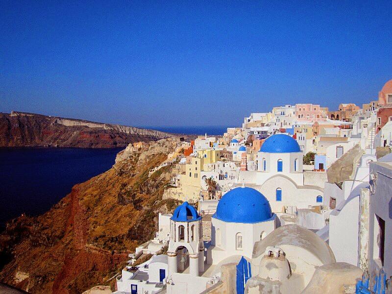 oia blue dome airbnbs santorini greece